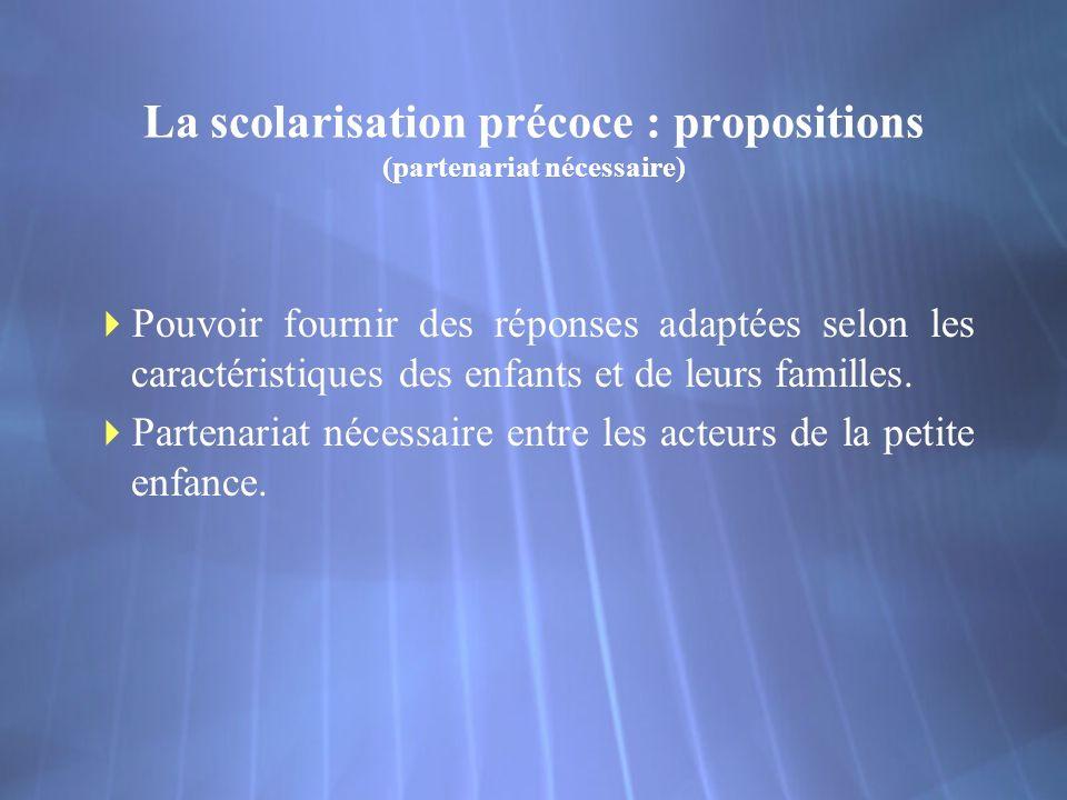 La scolarisation précoce : propositions (partenariat nécessaire) Pouvoir fournir des réponses adaptées selon les caractéristiques des enfants et de leurs familles.