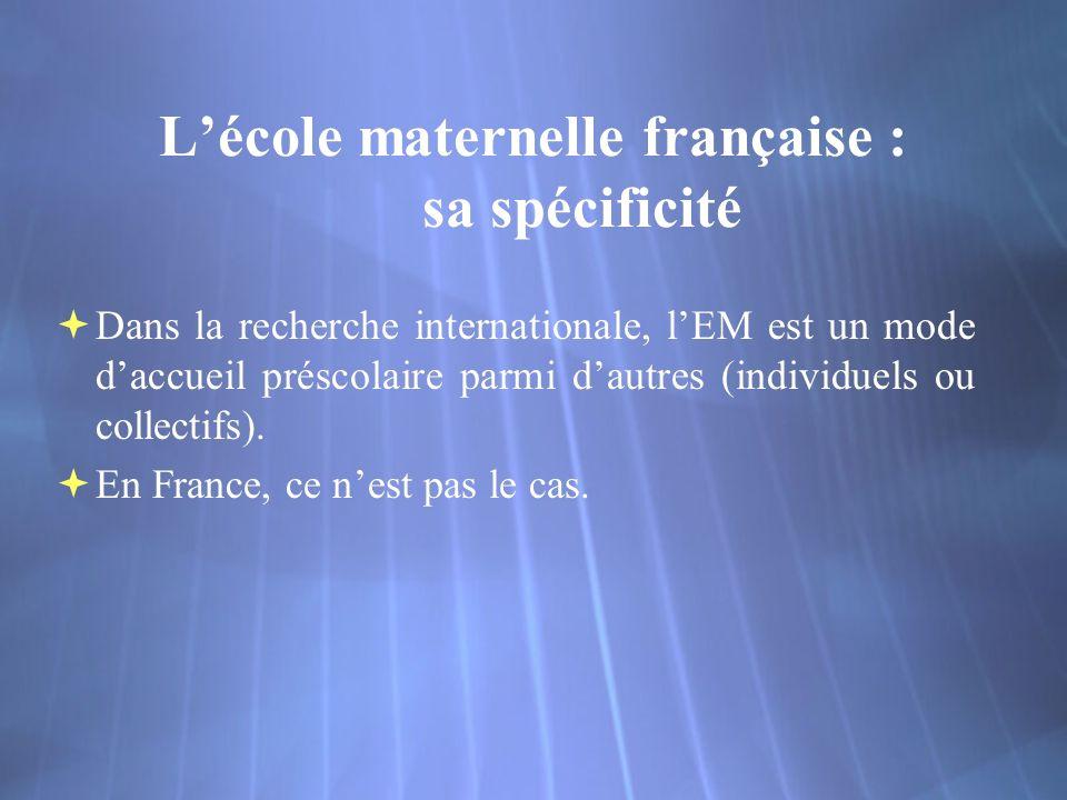 Lécole maternelle française : sa spécificité Dans la recherche internationale, lEM est un mode daccueil préscolaire parmi dautres (individuels ou collectifs).