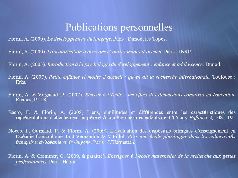 Publications personnelles Florin, A. (2000). Le développement du langage.