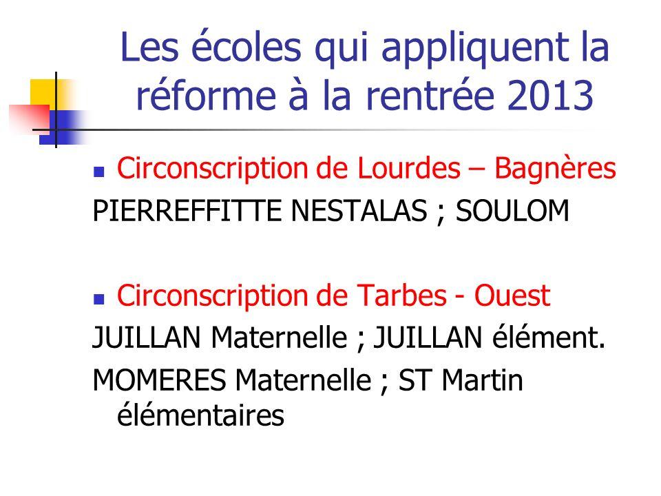 Les écoles qui appliquent la réforme à la rentrée 2013 Circonscription de Lourdes – Bagnères PIERREFFITTE NESTALAS ; SOULOM Circonscription de Tarbes - Ouest JUILLAN Maternelle ; JUILLAN élément.