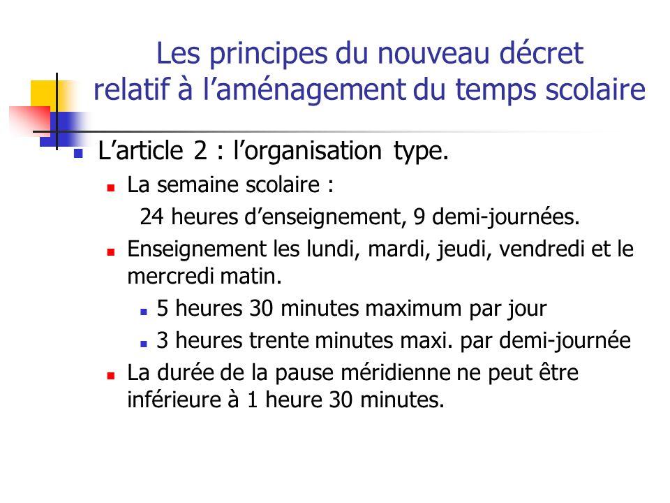 Les principes du nouveau décret relatif à laménagement du temps scolaire les dérogations Samedi matin au lieu du mercredi matin Augmentation de la durée de la journée ou de la demi-journée