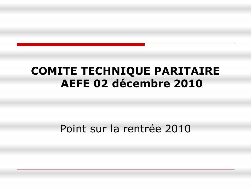COMITE TECHNIQUE PARITAIRE AEFE 02 décembre 2010 Point sur la rentrée 2010