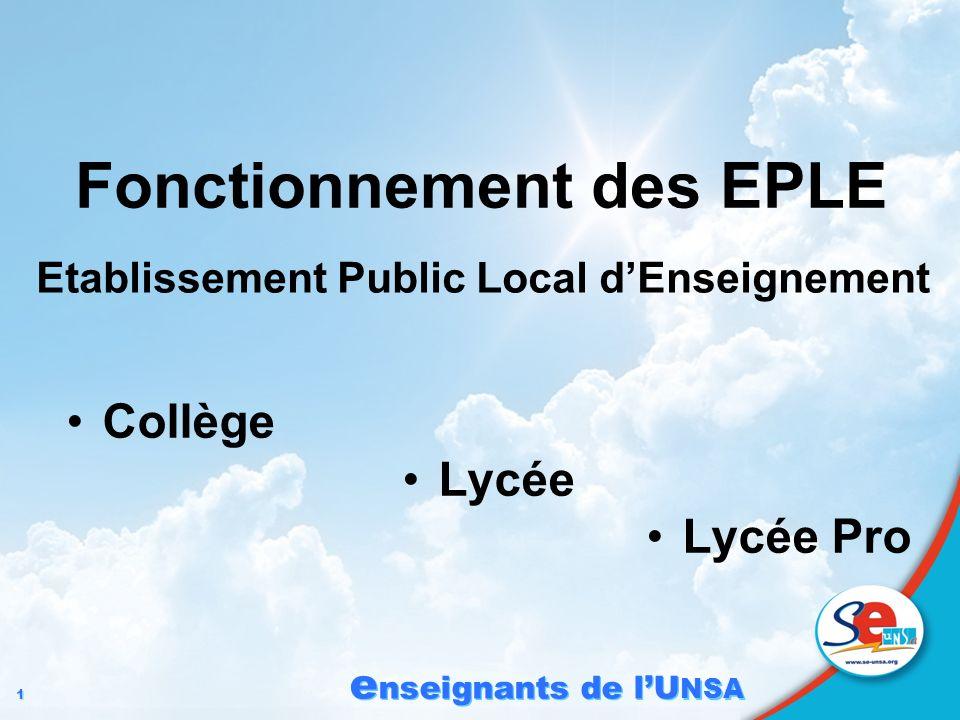 1 1 e nseignants de lU NSA Fonctionnement des EPLE Collège Lycée Lycée Pro Etablissement Public Local dEnseignement Comprendre le