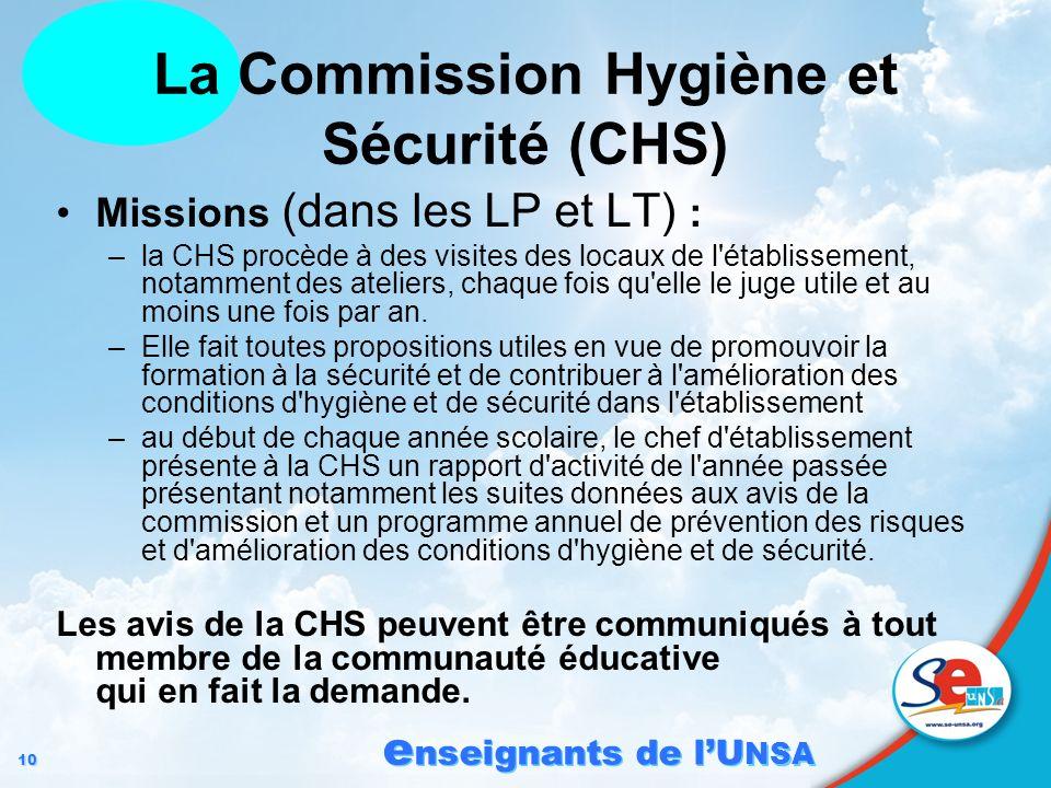 10 e nseignants de lU NSA Missions (dans les LP et LT) : –la CHS procède à des visites des locaux de l'établissement, notamment des ateliers, chaque f