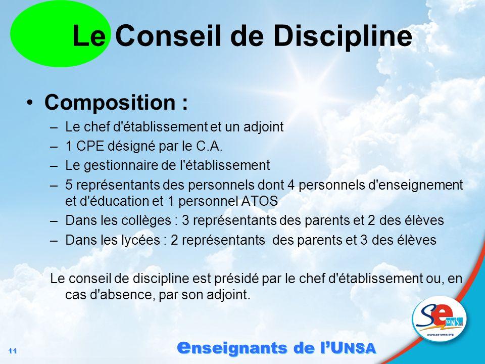 11 e nseignants de lU NSA Le Conseil de Discipline Composition : –Le chef d'établissement et un adjoint –1 CPE désigné par le C.A. –Le gestionnaire de