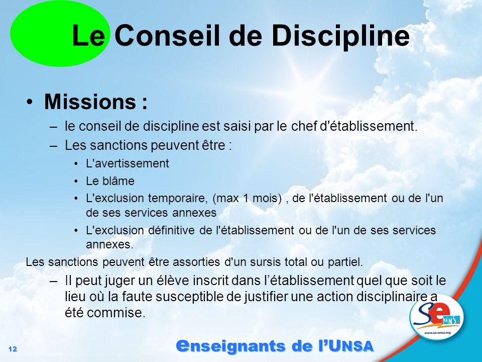 12 e nseignants de lU NSA Le Conseil de Discipline Missions : –le conseil de discipline est saisi par le chef d'établissement. –Les sanctions peuvent