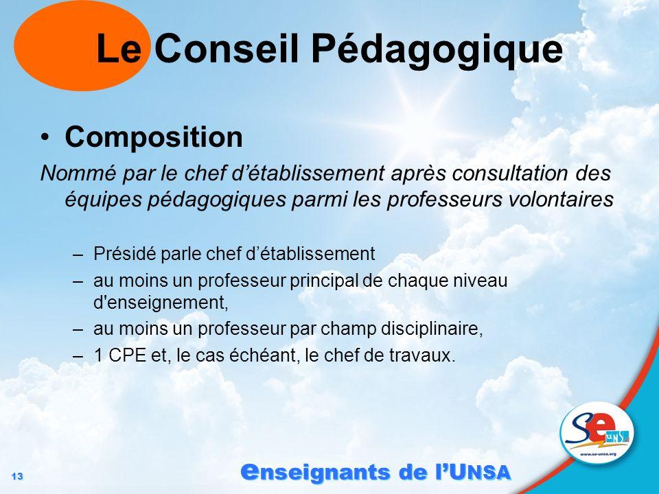 13 e nseignants de lU NSA Le Conseil Pédagogique Composition Nommé par le chef détablissement après consultation des équipes pédagogiques parmi les pr