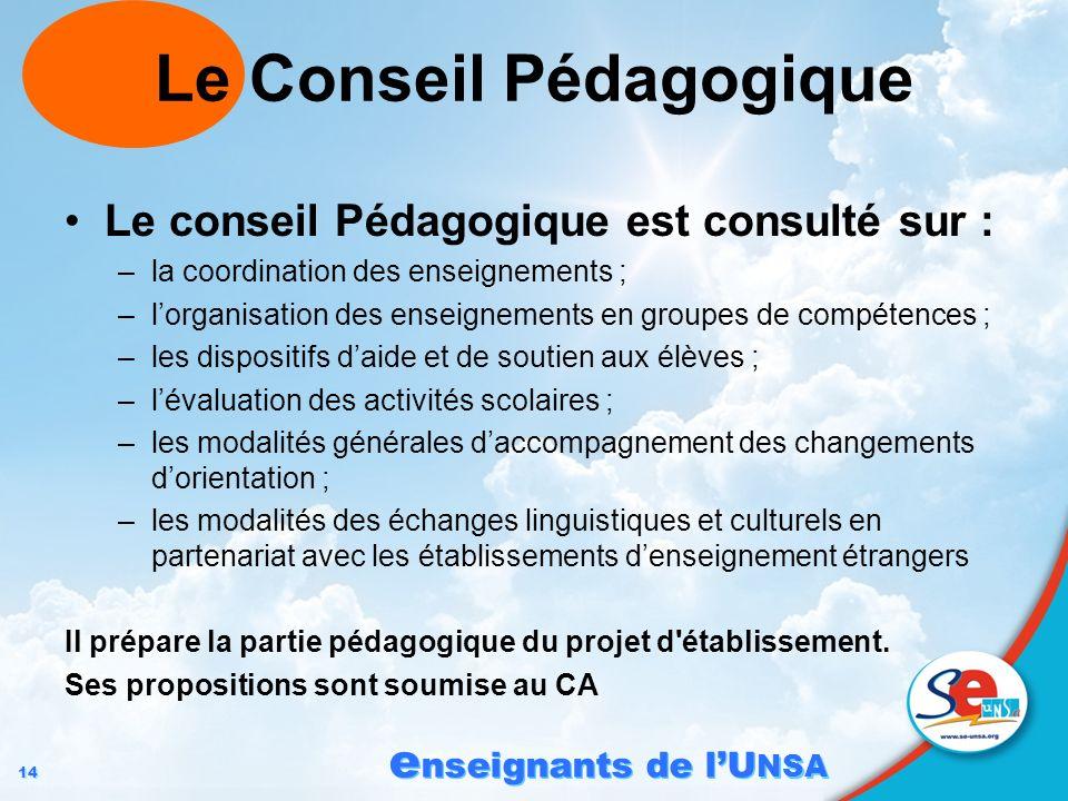 14 e nseignants de lU NSA Le Conseil Pédagogique Le conseil Pédagogique est consulté sur : –la coordination des enseignements ; –lorganisation des ens