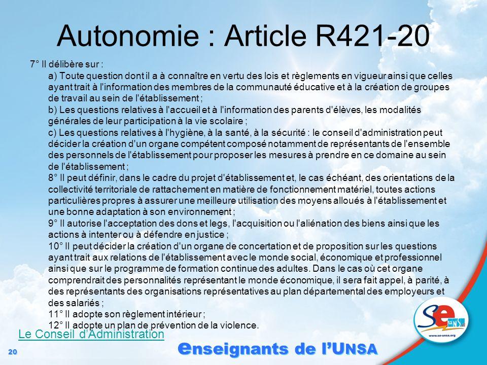 20 e nseignants de lU NSA Autonomie : Article R421-20 7° Il délibère sur : a) Toute question dont il a à connaître en vertu des lois et règlements en