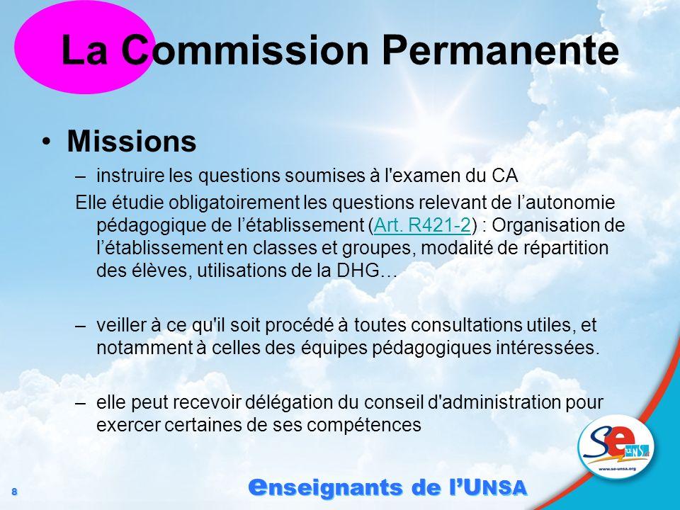 8 8 e nseignants de lU NSA La Commission Permanente Missions –instruire les questions soumises à l'examen du CA Elle étudie obligatoirement les questi