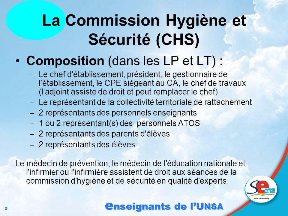 9 9 e nseignants de lU NSA Composition (dans les LP et LT) : –Le chef d'établissement, président, le gestionnaire de létablissement, le CPE siégeant a