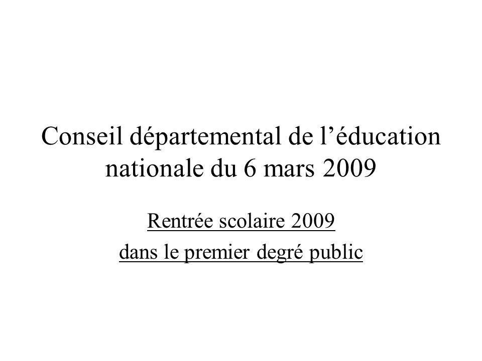 Conseil départemental de léducation nationale du 6 mars 2009 Rentrée scolaire 2009 dans le premier degré public