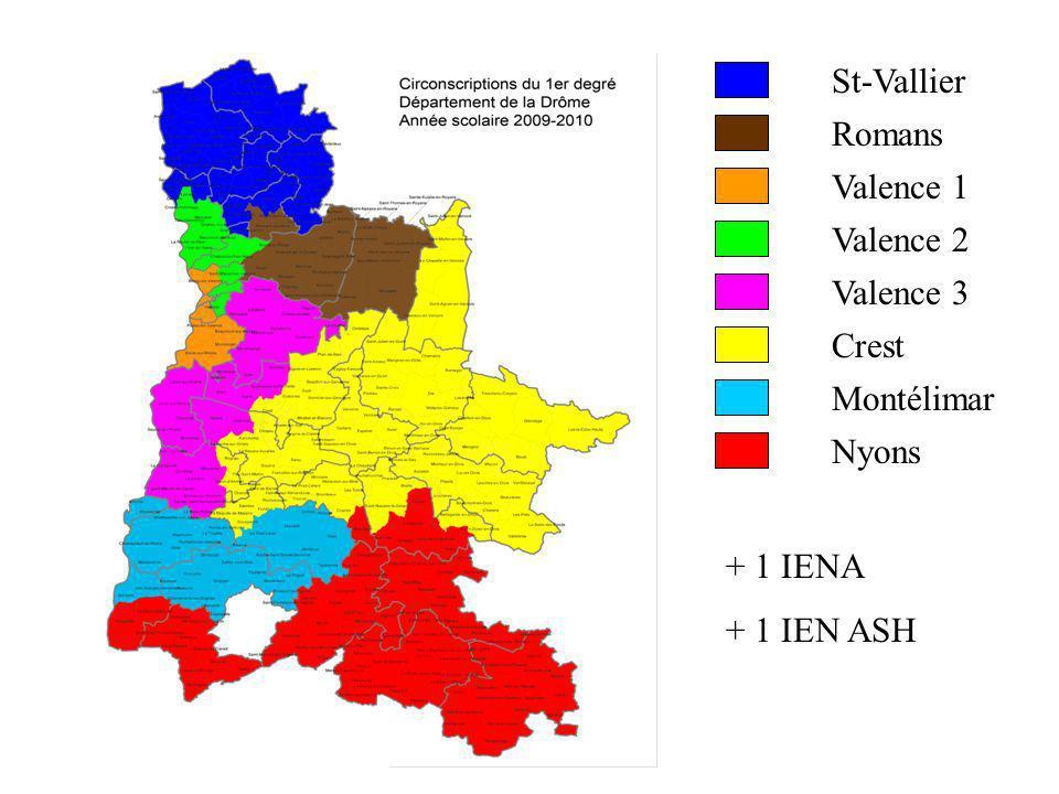 St-Vallier Romans Valence 1 Valence 2 Valence 3 Crest Montélimar Nyons + 1 IENA + 1 IEN ASH