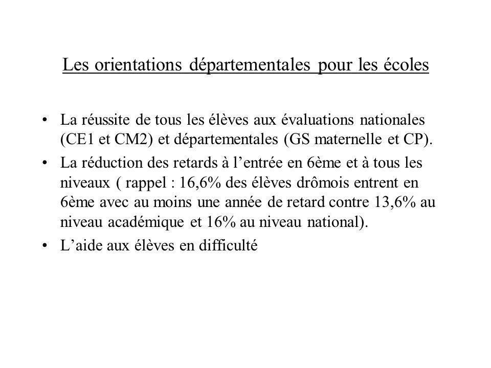 Les orientations départementales pour les écoles La réussite de tous les élèves aux évaluations nationales (CE1 et CM2) et départementales (GS materne