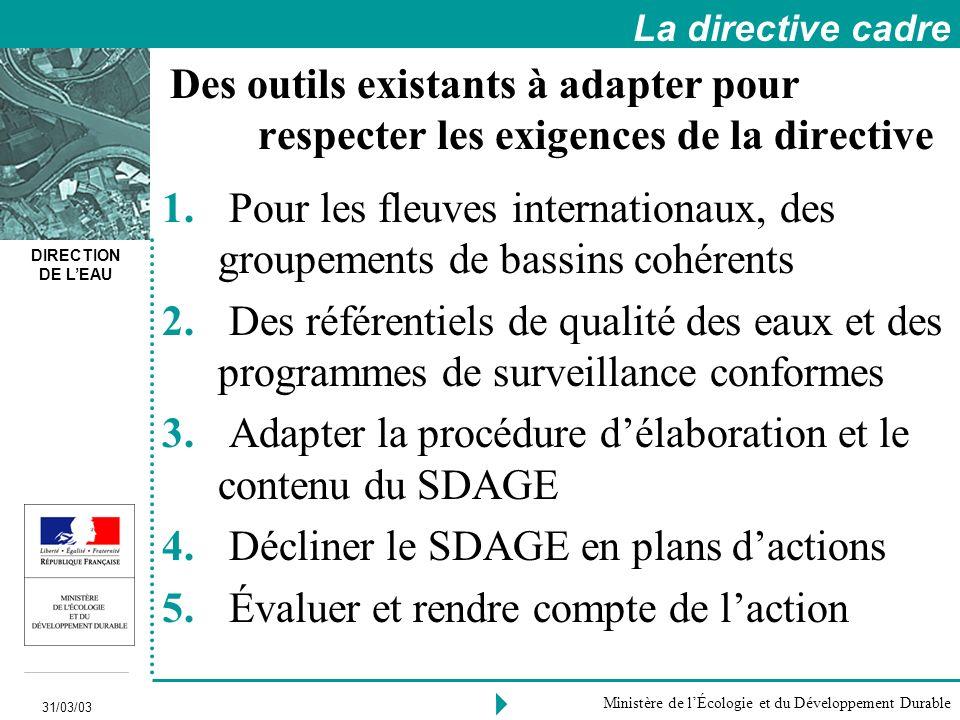 DIRECTION DE LEAU 31/03/03 Ministère de lÉcologie et du Développement Durable 1.