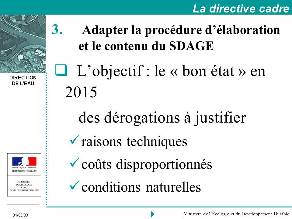 DIRECTION DE LEAU 31/03/03 Ministère de lÉcologie et du Développement Durable 3.