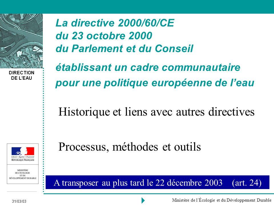 DIRECTION DE LEAU 31/03/03 Ministère de lÉcologie et du Développement Durable Historique et liens avec autres directives Processus, méthodes et outils A transposer au plus tard le 22 décembre 2003 (art.