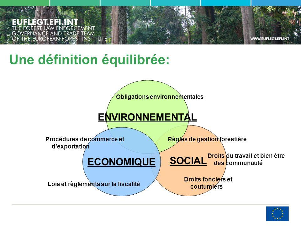Une définition équilibrée: SOCIAL ENVIRONNEMENTAL ECONOMIQUE Obligations environnementales Règles de gestion forestière Droits du travail et bien être des communauté Droits fonciers et coutumiers Procédures de commerce et dexportation Lois et règlements sur la fiscalité