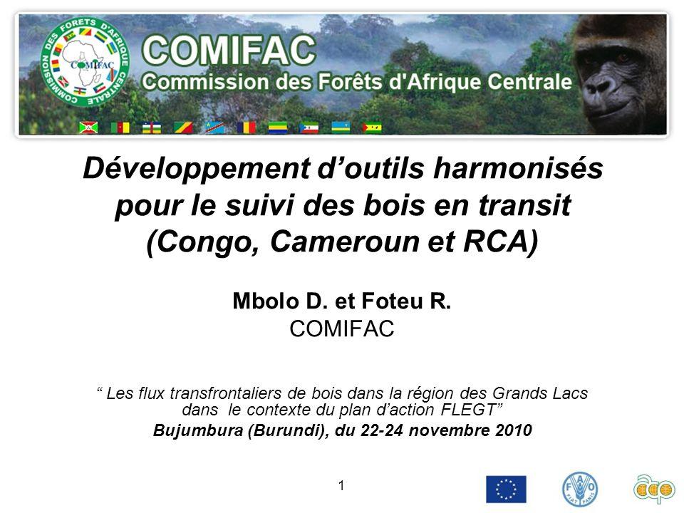 1 Développement doutils harmonisés pour le suivi des bois en transit (Congo, Cameroun et RCA) Mbolo D. et Foteu R. COMIFAC Les flux transfrontaliers d