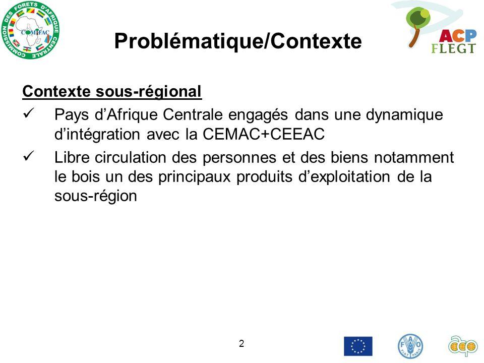 2 Problématique/Contexte Contexte sous-régional Pays dAfrique Centrale engagés dans une dynamique dintégration avec la CEMAC+CEEAC Libre circulation des personnes et des biens notamment le bois un des principaux produits dexploitation de la sous-région