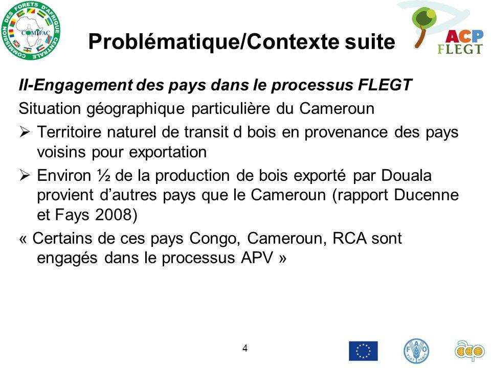 4 Problématique/Contexte suite II-Engagement des pays dans le processus FLEGT Situation géographique particulière du Cameroun Territoire naturel de tr