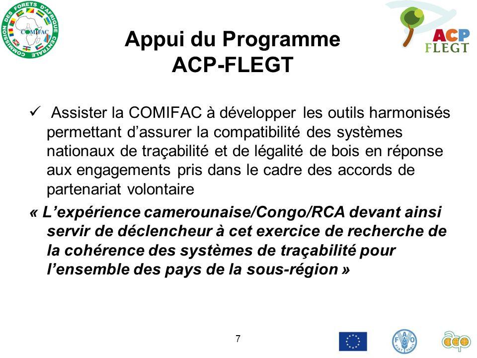 7 Appui du Programme ACP-FLEGT Assister la COMIFAC à développer les outils harmonisés permettant dassurer la compatibilité des systèmes nationaux de t