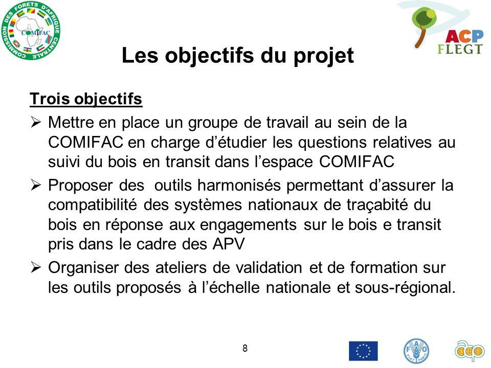 8 Les objectifs du projet Trois objectifs Mettre en place un groupe de travail au sein de la COMIFAC en charge détudier les questions relatives au sui