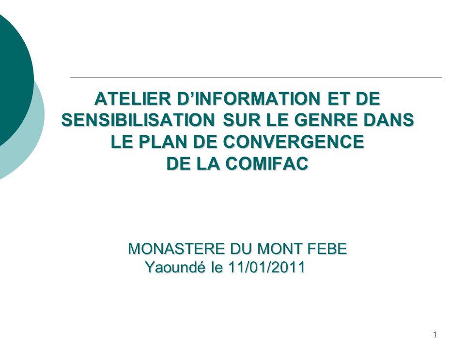 1 ATELIER DINFORMATION ET DE SENSIBILISATION SUR LE GENRE DANS LE PLAN DE CONVERGENCE DE LA COMIFAC MONASTERE DU MONT FEBE Yaoundé le 11/01/2011