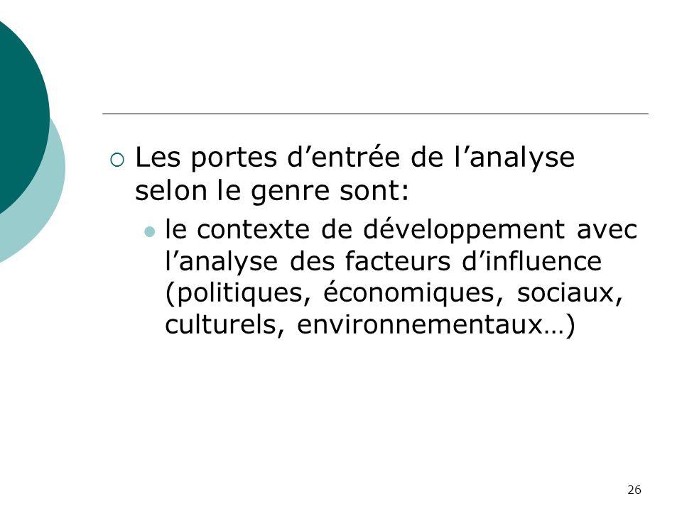 26 Les portes dentrée de lanalyse selon le genre sont: le contexte de développement avec lanalyse des facteurs dinfluence (politiques, économiques, sociaux, culturels, environnementaux…)