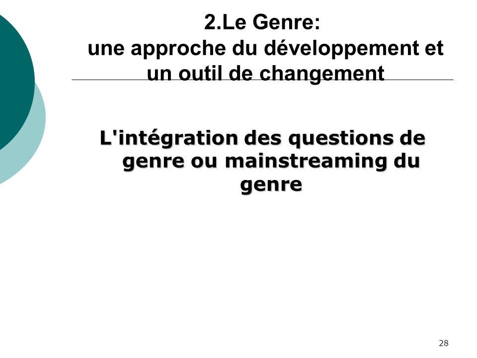 28 2.Le Genre: une approche du développement et un outil de changement L intégration des questions de genre ou mainstreaming du genre