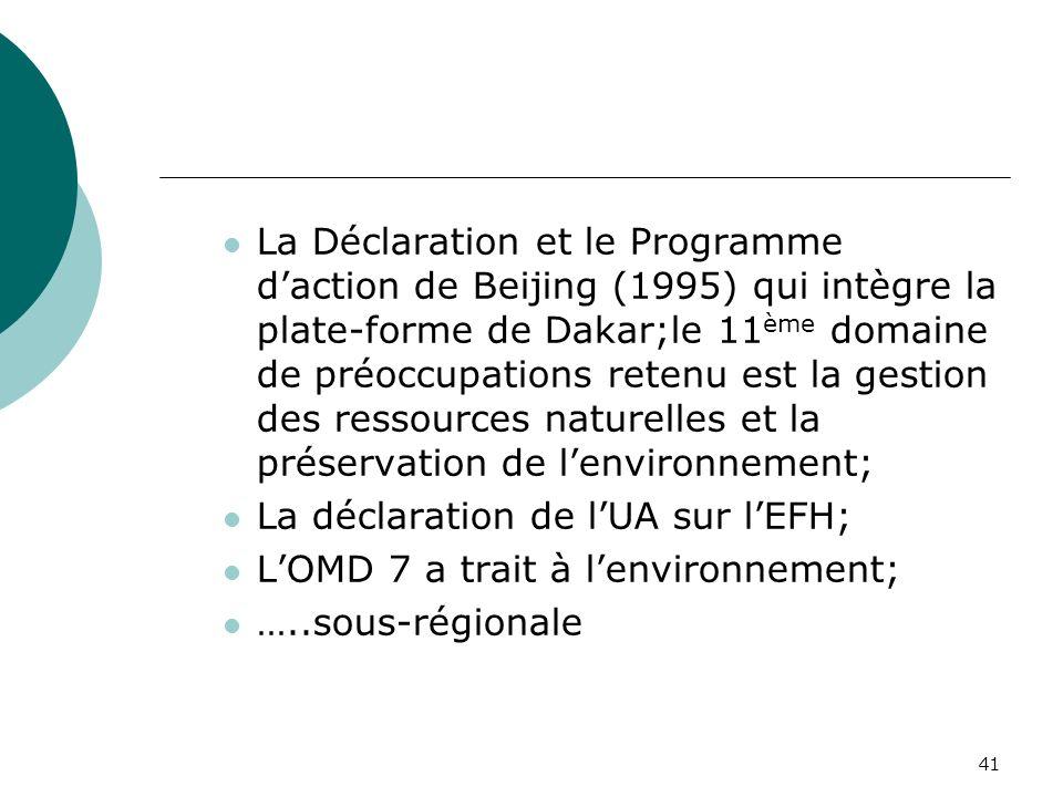 41 La Déclaration et le Programme daction de Beijing (1995) qui intègre la plate-forme de Dakar;le 11 ème domaine de préoccupations retenu est la gestion des ressources naturelles et la préservation de lenvironnement; La déclaration de lUA sur lEFH; LOMD 7 a trait à lenvironnement; …..sous-régionale