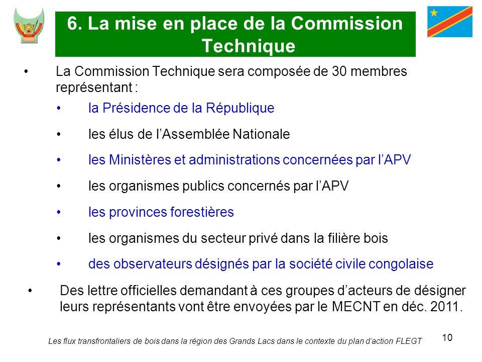10 6. La mise en place de la Commission Technique La Commission Technique sera composée de 30 membres représentant : la Présidence de la République le