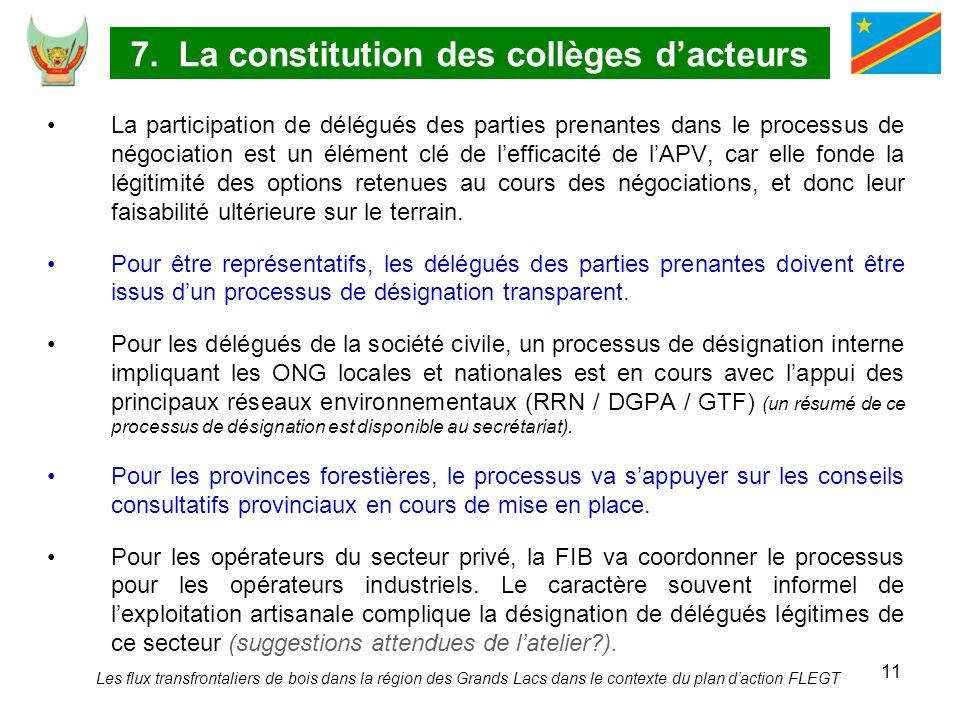 11 7. La constitution des collèges dacteurs La participation de délégués des parties prenantes dans le processus de négociation est un élément clé de