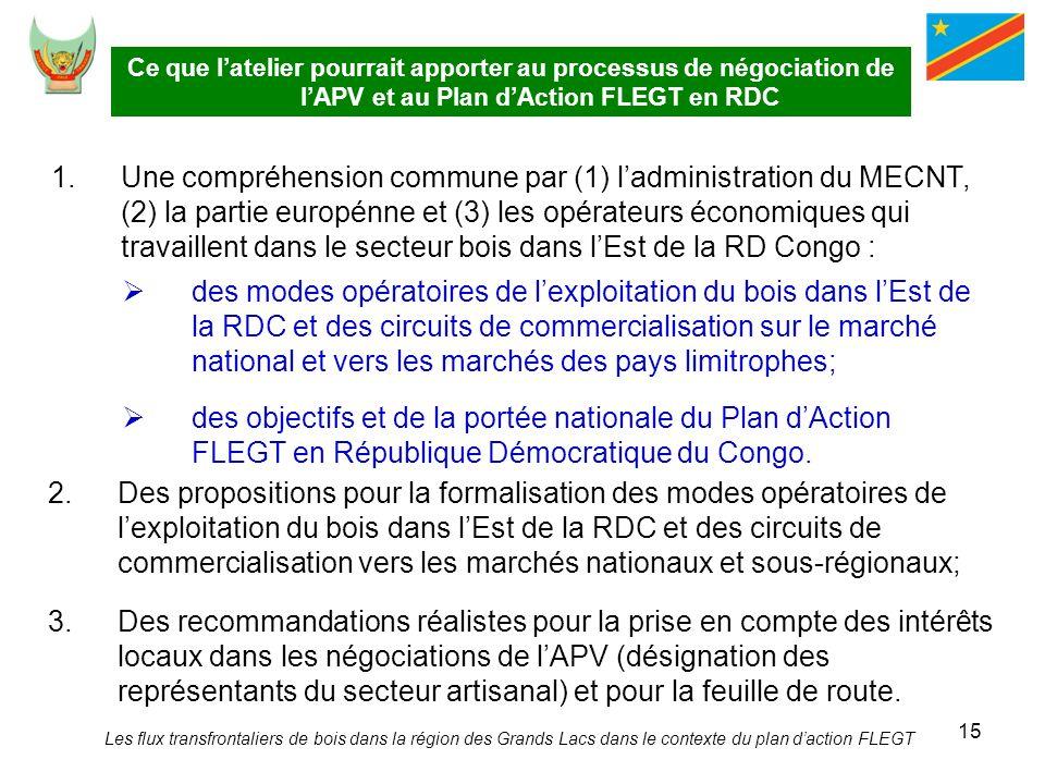 15 Ce que latelier pourrait apporter au processus de négociation de lAPV et au Plan dAction FLEGT en RDC 1.Une compréhension commune par (1) ladminist