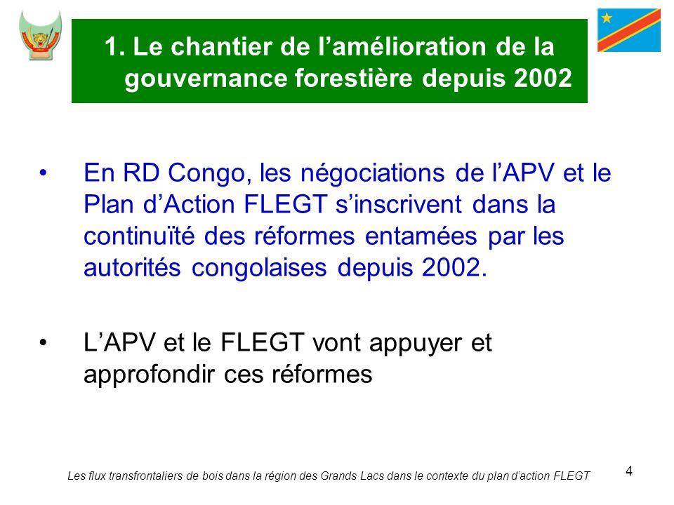 4 1. Le chantier de lamélioration de la gouvernance forestière depuis 2002 En RD Congo, les négociations de lAPV et le Plan dAction FLEGT sinscrivent