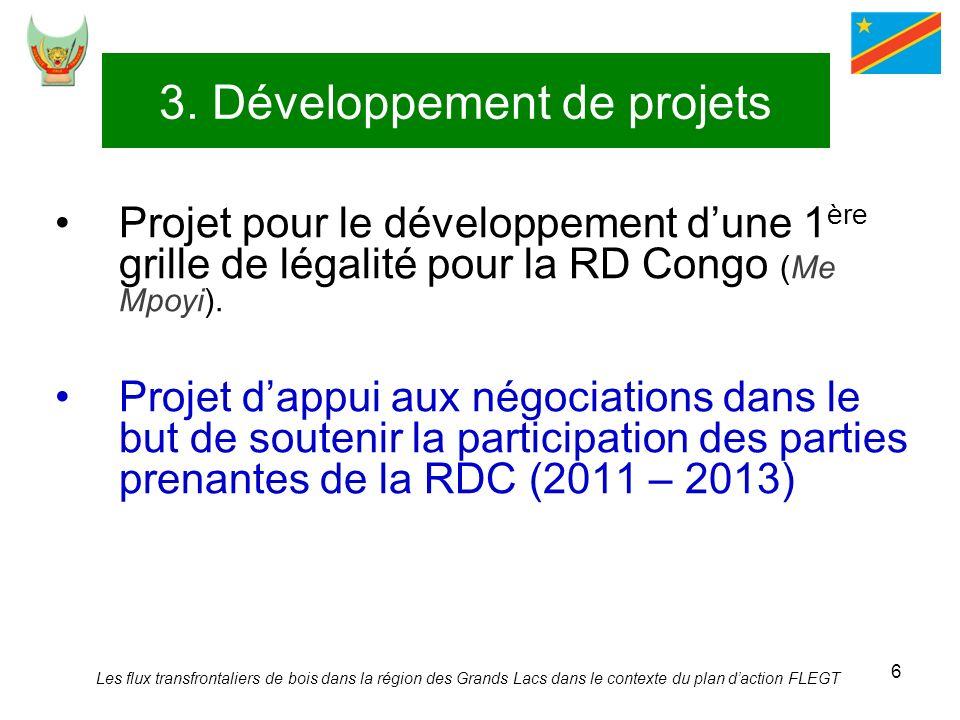 6 3. Développement de projets Projet pour le développement dune 1 ère grille de légalité pour la RD Congo (Me Mpoyi). Projet dappui aux négociations d