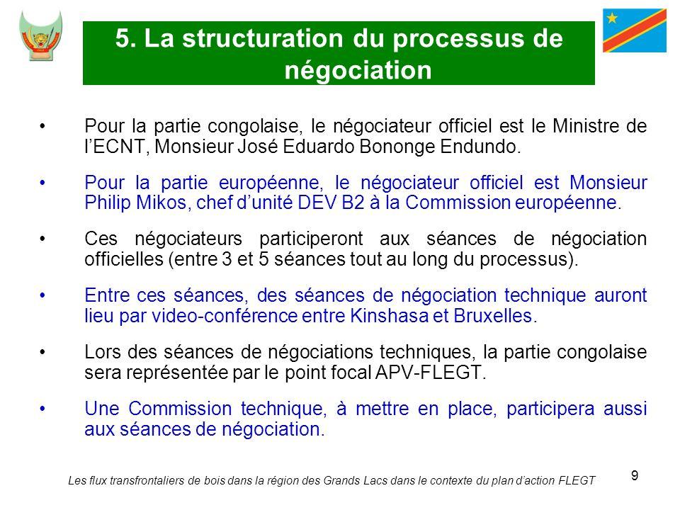 9 5. La structuration du processus de négociation Pour la partie congolaise, le négociateur officiel est le Ministre de lECNT, Monsieur José Eduardo B