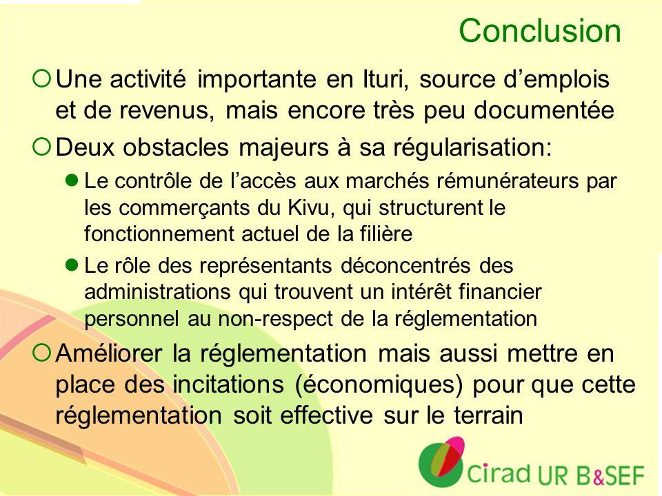 Ur B&SEF Conclusion Une activité importante en Ituri, source demplois et de revenus, mais encore très peu documentée Deux obstacles majeurs à sa régul
