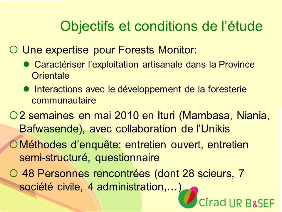 Ur B&SEF Objectifs et conditions de létude Une expertise pour Forests Monitor: Caractériser lexploitation artisanale dans la Province Orientale Intera