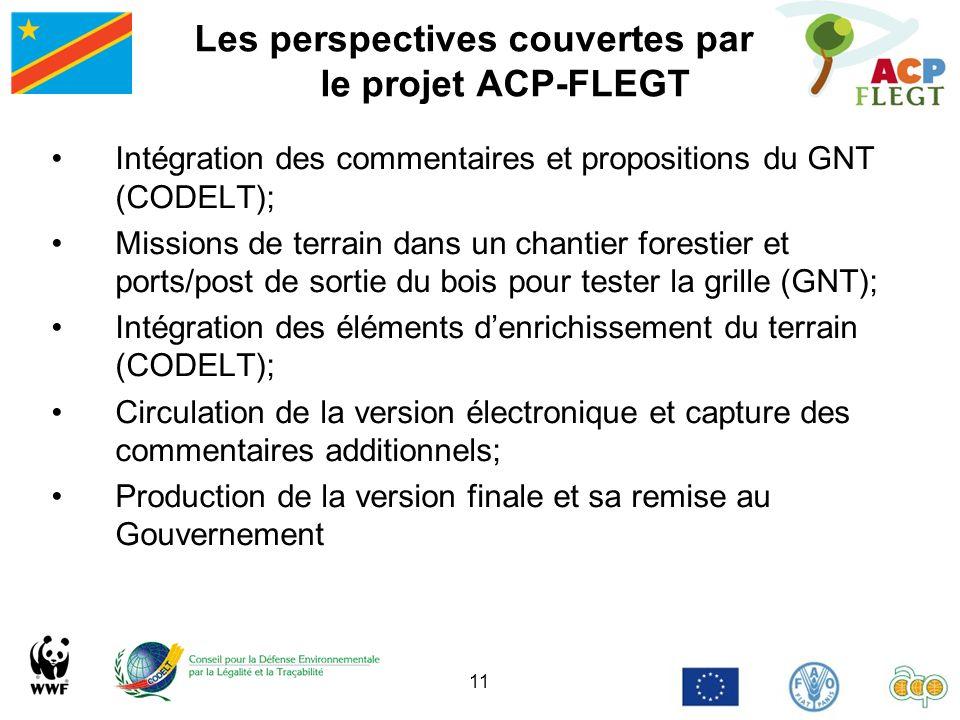 11 Les perspectives couvertes par le projet ACP-FLEGT Intégration des commentaires et propositions du GNT (CODELT); Missions de terrain dans un chanti