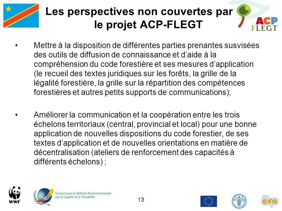 13 Les perspectives non couvertes par le projet ACP-FLEGT Mettre à la disposition de différentes parties prenantes susvisées des outils de diffusion d