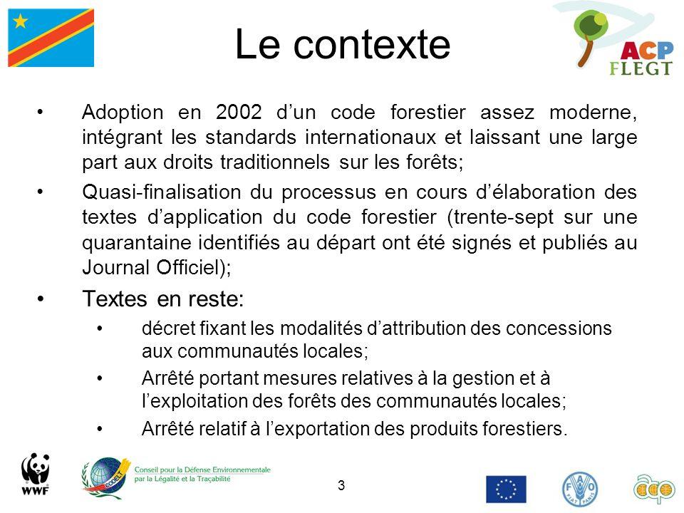 3 Le contexte Adoption en 2002 dun code forestier assez moderne, intégrant les standards internationaux et laissant une large part aux droits traditio