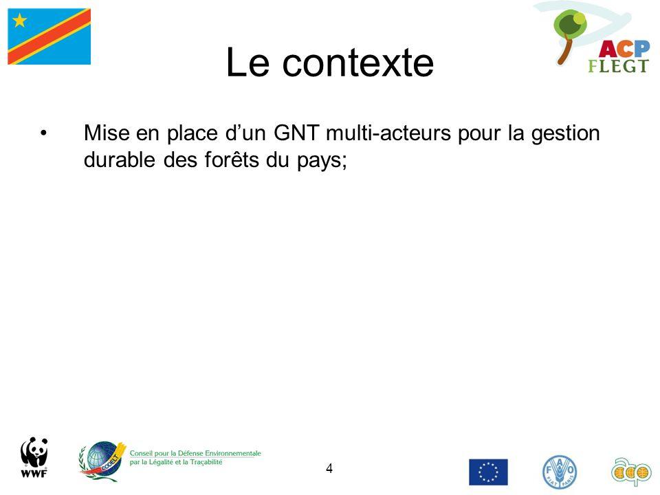 4 Le contexte Mise en place dun GNT multi-acteurs pour la gestion durable des forêts du pays;