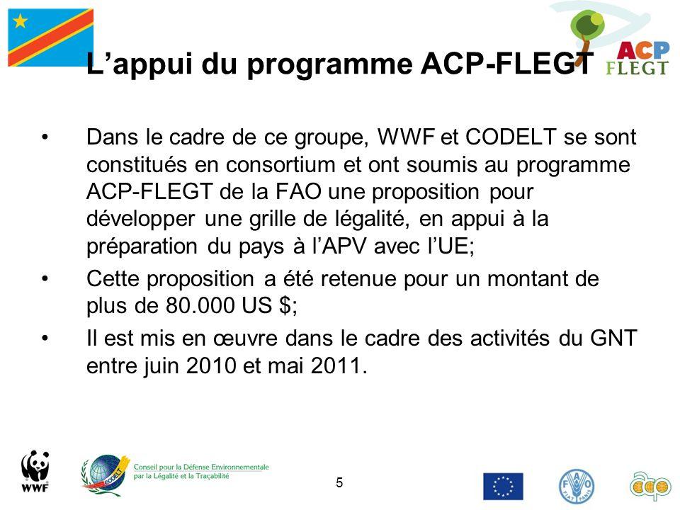 5 Lappui du programme ACP-FLEGT Dans le cadre de ce groupe, WWF et CODELT se sont constitués en consortium et ont soumis au programme ACP-FLEGT de la
