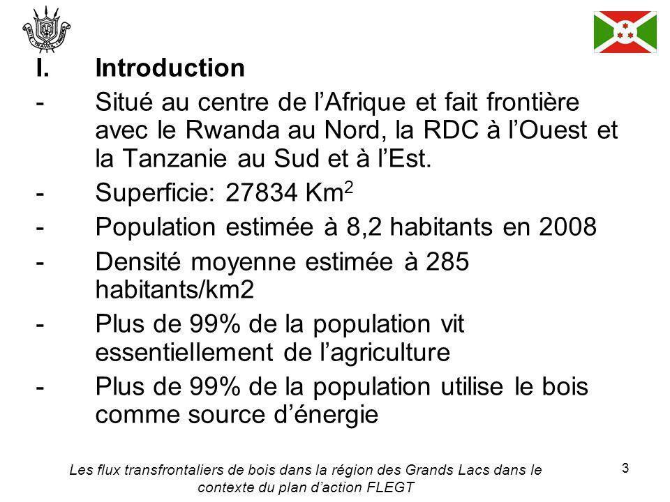 Les flux transfrontaliers de bois dans la région des Grands Lacs dans le contexte du plan daction FLEGT 3 I.Introduction - Situé au centre de lAfrique et fait frontière avec le Rwanda au Nord, la RDC à lOuest et la Tanzanie au Sud et à lEst.