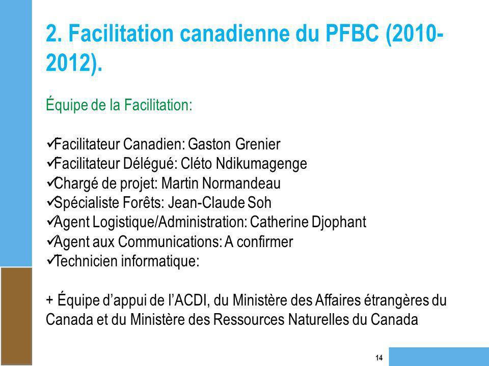 2. Facilitation canadienne du PFBC (2010- 2012). 14 Équipe de la Facilitation: Facilitateur Canadien: Gaston Grenier Facilitateur Délégué: Cléto Ndiku