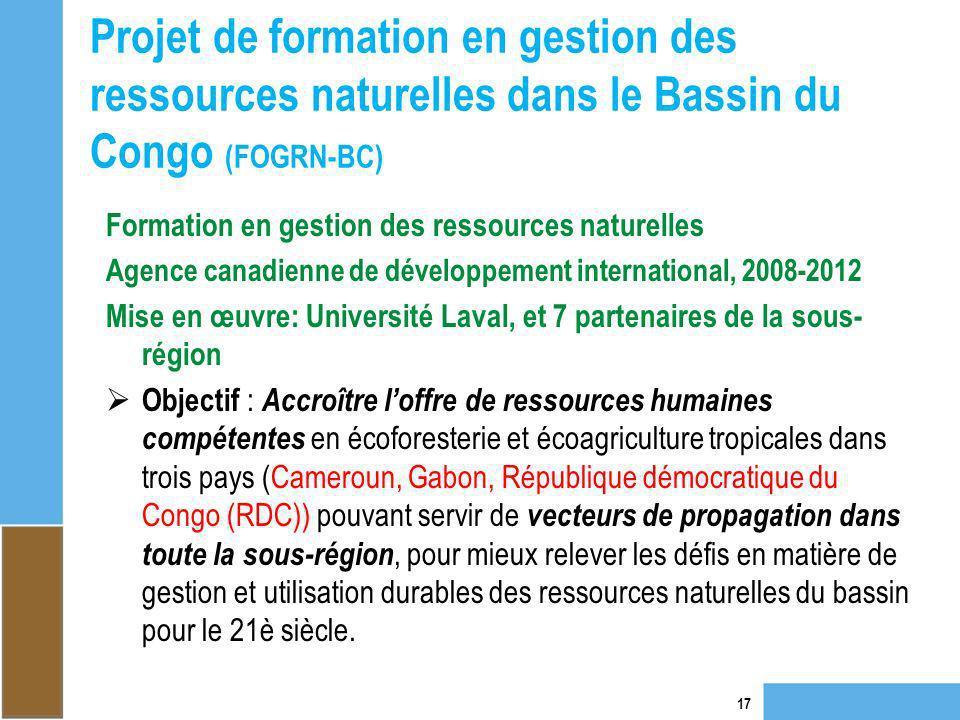 Projet de formation en gestion des ressources naturelles dans le Bassin du Congo (FOGRN-BC) 17 Formation en gestion des ressources naturelles Agence c