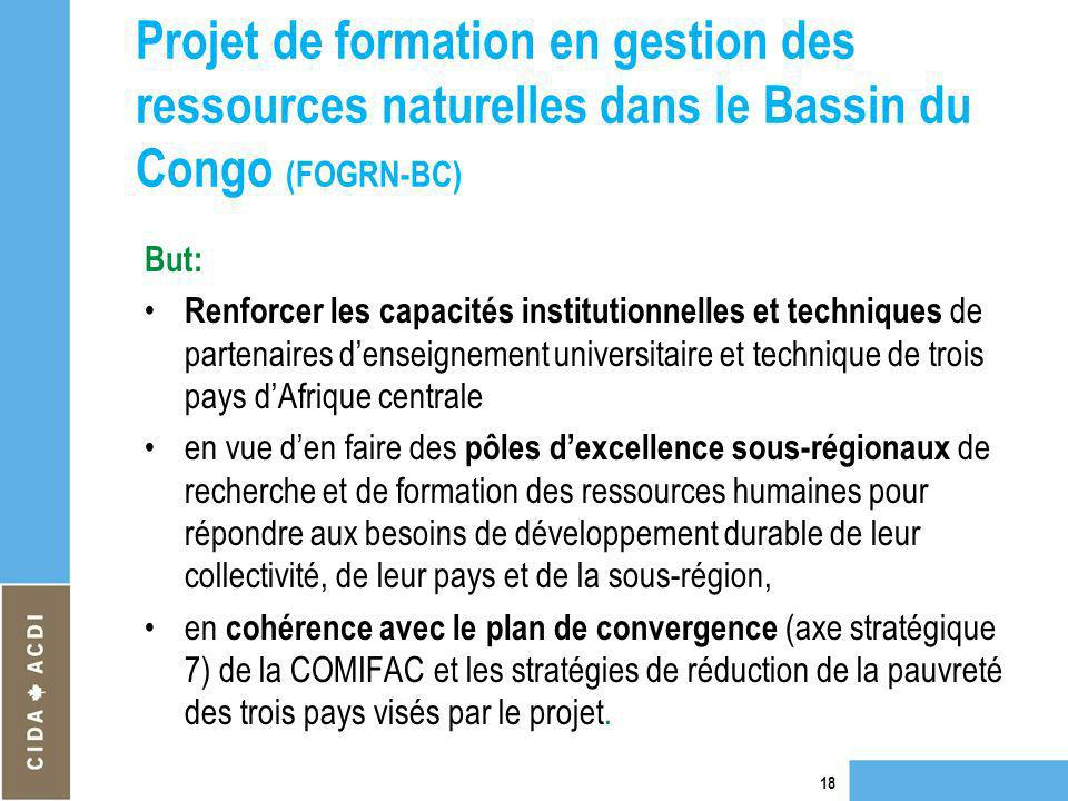Projet de formation en gestion des ressources naturelles dans le Bassin du Congo (FOGRN-BC) But: Renforcer les capacités institutionnelles et techniqu