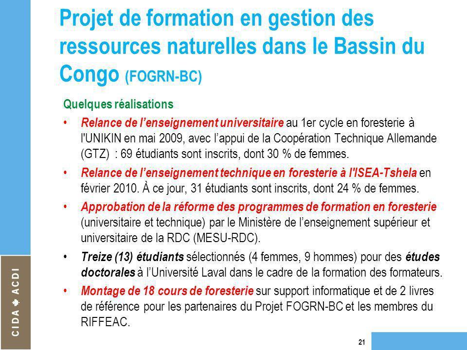 Projet de formation en gestion des ressources naturelles dans le Bassin du Congo (FOGRN-BC) Quelques réalisations Relance de lenseignement universitai