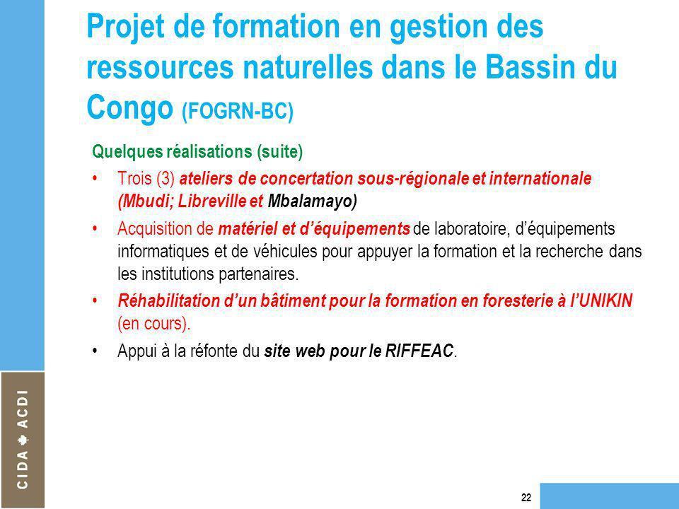 Projet de formation en gestion des ressources naturelles dans le Bassin du Congo (FOGRN-BC) Quelques réalisations (suite) Trois (3) ateliers de concer